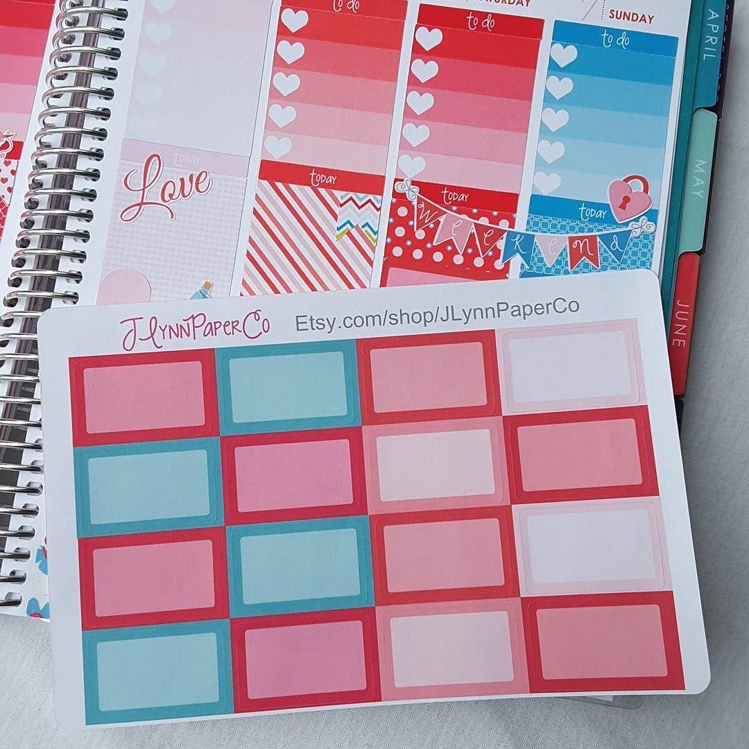 Half box stickers. #stickers #plannerstickers #planner #erincondren #erincondrenlifeplanner #eclp #jlynnpaperco #etsy #planneraddict #plannerlove #plannerjunkie #valentines #valentinesday