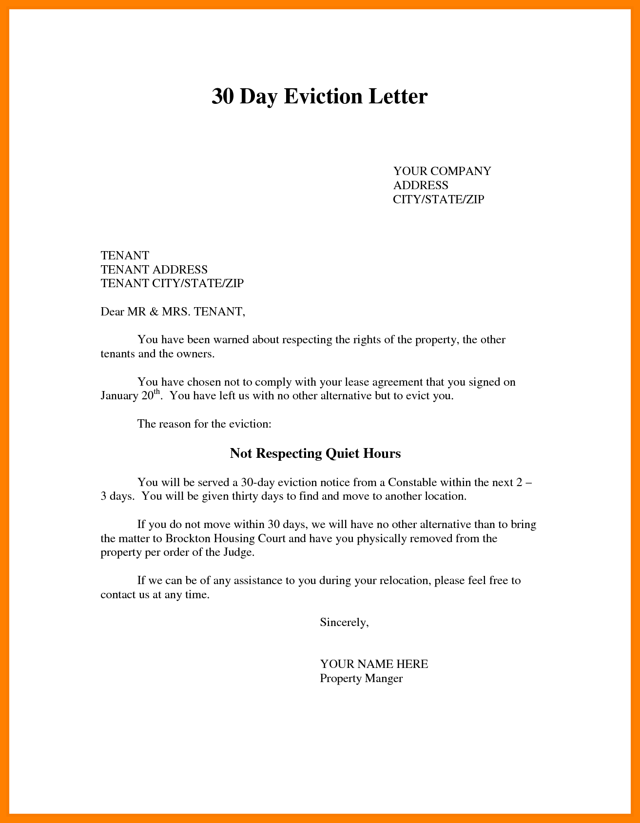 Eviction Letter Samples Template Photo Sample Notice Quit Images