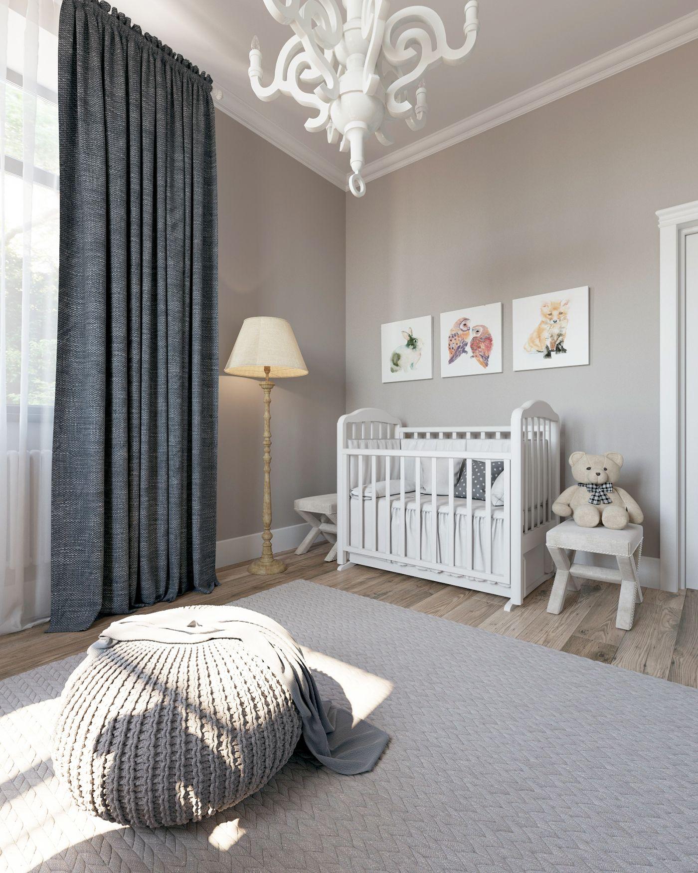 Grey Nursery on Behance Детская комната в сером цвете