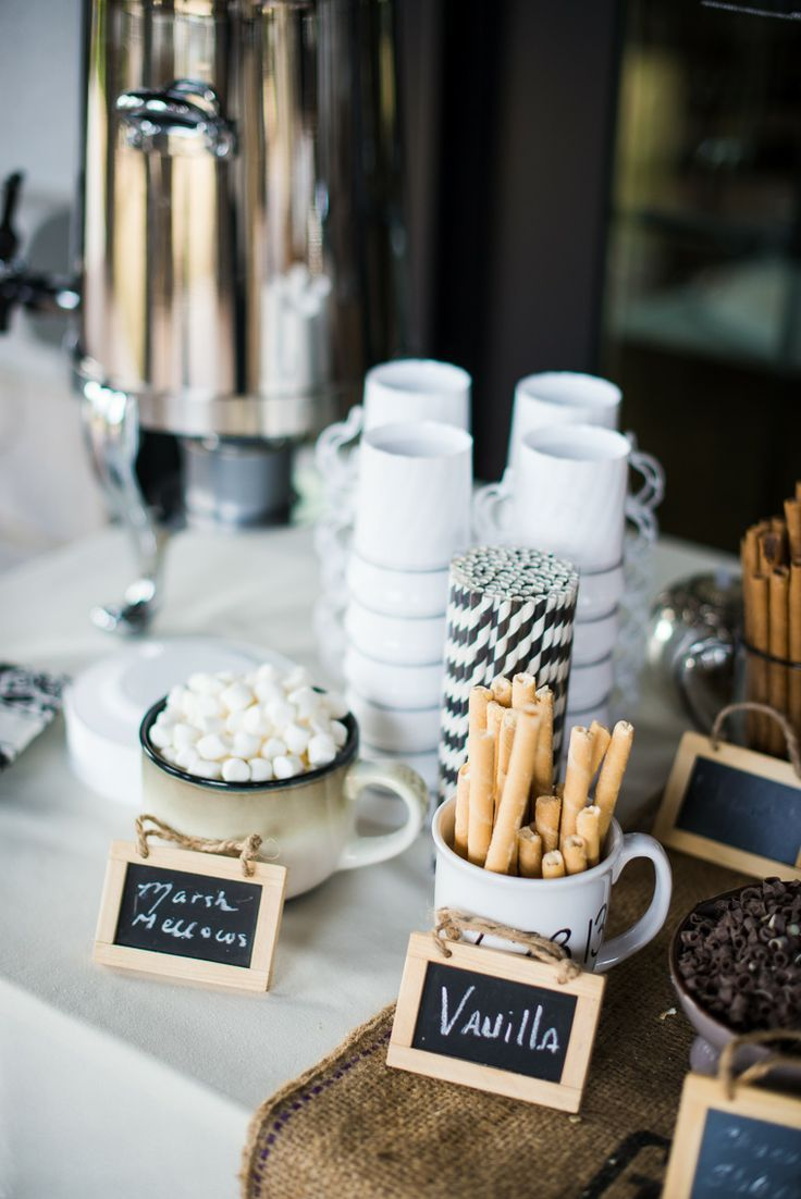 hot chocolate and sumores bars for your winter wedding wedding