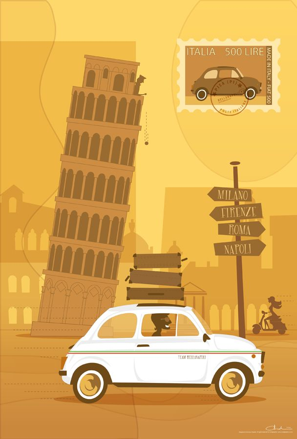 Pisa Tower - Retro illustration by Coolgraphic www.coolgraphic.co.uk