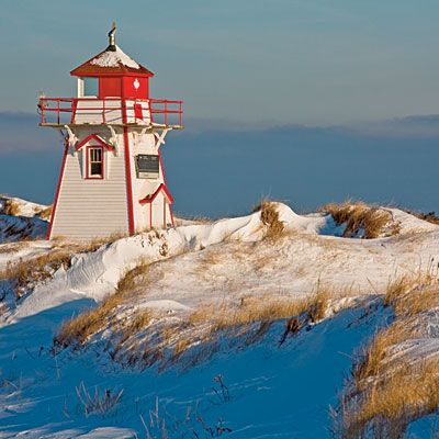 Prince Edward Island, Canada. The Covehead Harbour Lighthouse, built in 1967, stands sentry over Covehead Bay in Queens County | Coastalliving.com