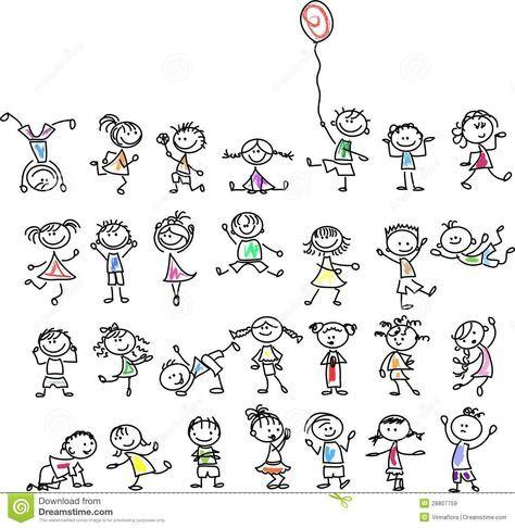 Bambini Felici Svegli Del Fumetto Immagini Stock Libere Da Diritti Disegni Di Scarabocchio Disegni Bambini Disegni A Mano