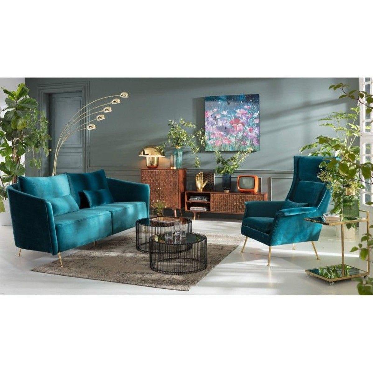 Fauteuil Vegas Forever Bleu-vert Kare Design - Taille : 1 ...