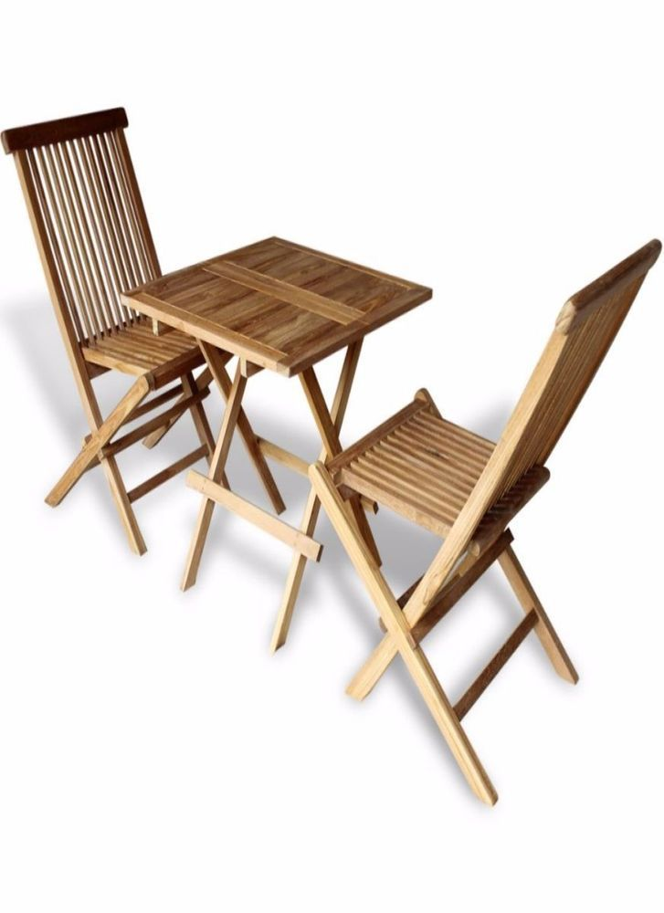 Wooden Bistro Set Outdoor Furniture Set Table 2 Folding Chairs ...