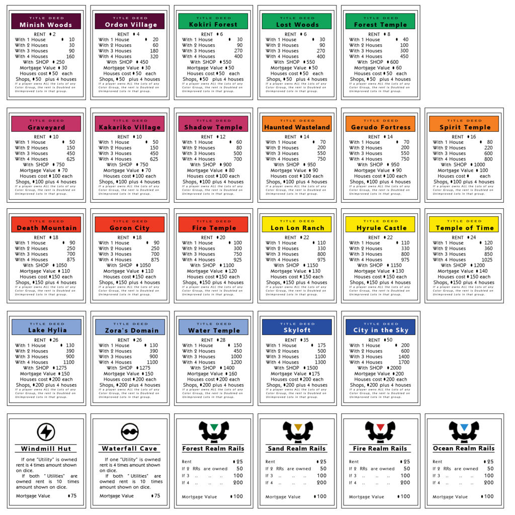 monopoly property cards template - monopoly properties zelda by monopoly games pinterest