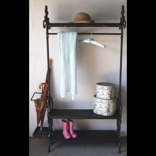 antique vintage style black wrought iron clothes rail