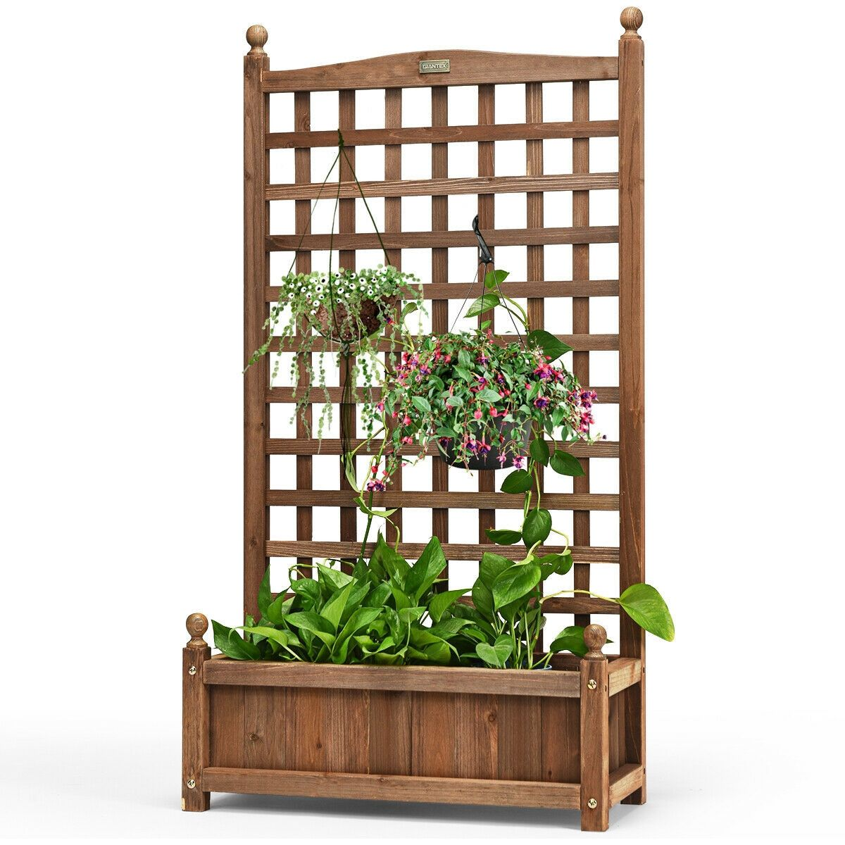 Solid Wood Planter Box With Trellis Weather Resistant Outdoor In 2020 Planter Box With Trellis Wood Planters Wood Planter Box
