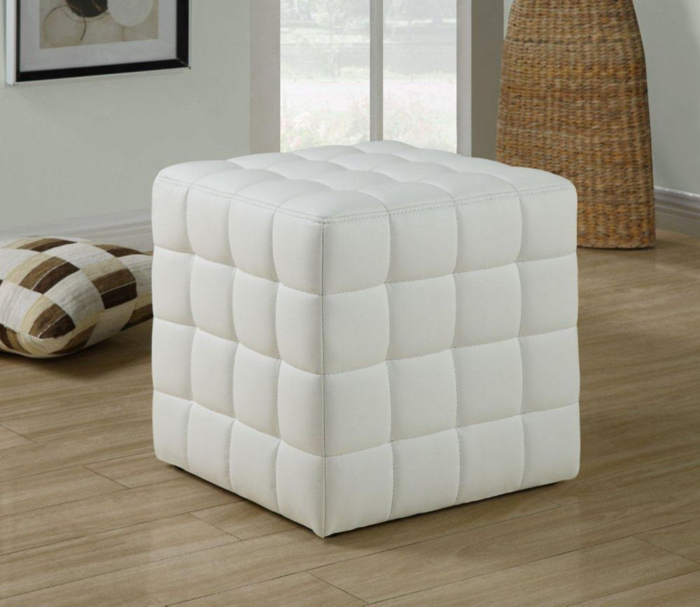 Fabulous Tufted Leather Look Ottoman In White Products Tufted Evergreenethics Interior Chair Design Evergreenethicsorg
