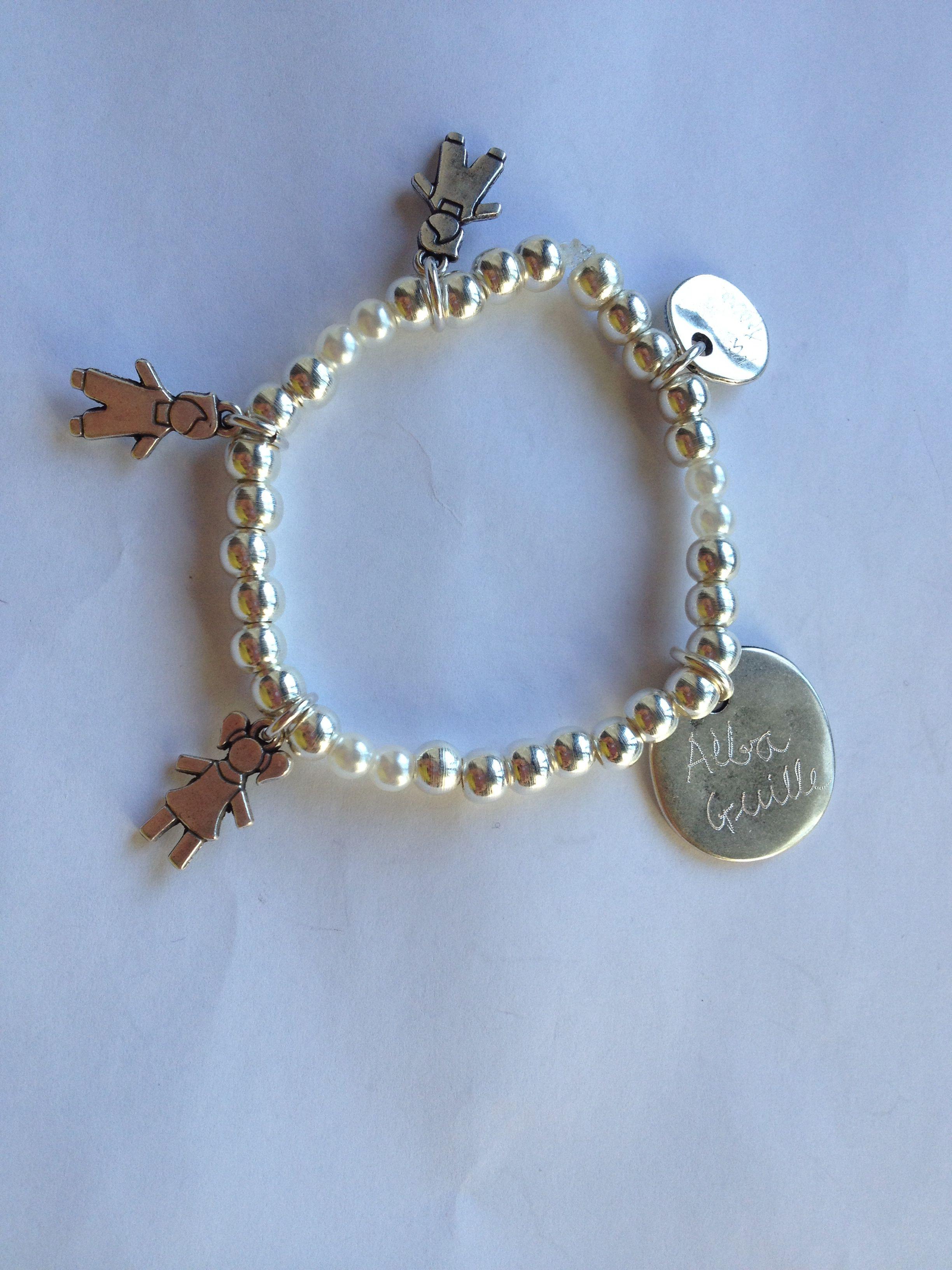 110581761a37 Pulsera elastica bolas con perlitas y placa personalizada