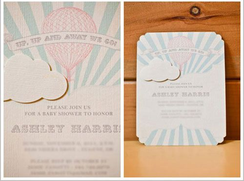 Pink Hot Air Balloon Baby Shower Hand Drawn Custom Invitation With Cloud