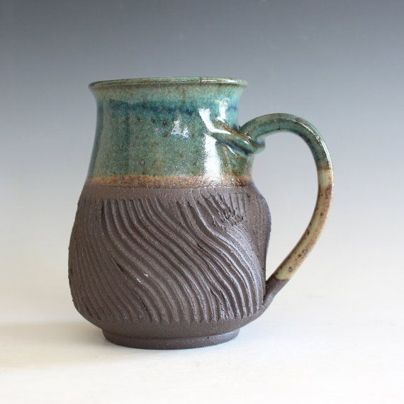 Pottery Mug, 15 oz, handthrown ceramic mug, stoneware pottery mug, unique coffee mug #uniquecoffee