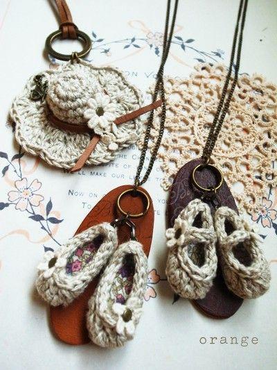 linen crochet necklace
