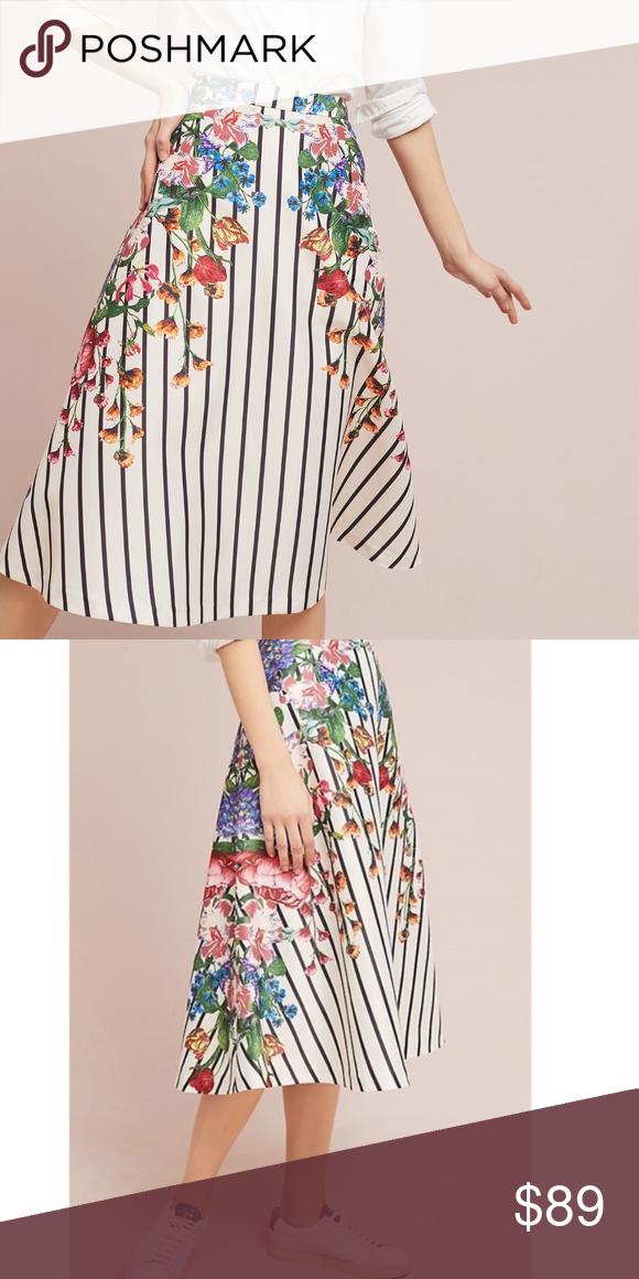 f84c389a510 Anthropologie Striped Splendor Skirt M NEW Maeve Anthropologie Striped  Splendor Skirt by Maeve-below knee or midi creamy white/black stripes/multi  color ...