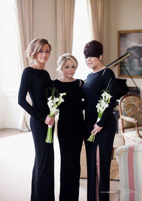 25 Long Sleeved Bridesmaids Dresses Winter Wedding Bridesmaids Black Bridesmaid Dresses Long Bridesmaid