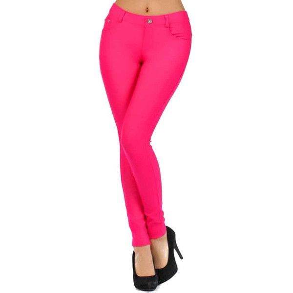 add32fdfc1ea00 Fuchsia Hot Pink 5 Pocket Stretchy Jean Jeggings ($20) ❤ liked on Polyvore  featuring pants, leggings, fuchsia, stretchy leggings, stretch denim  leggings, ...