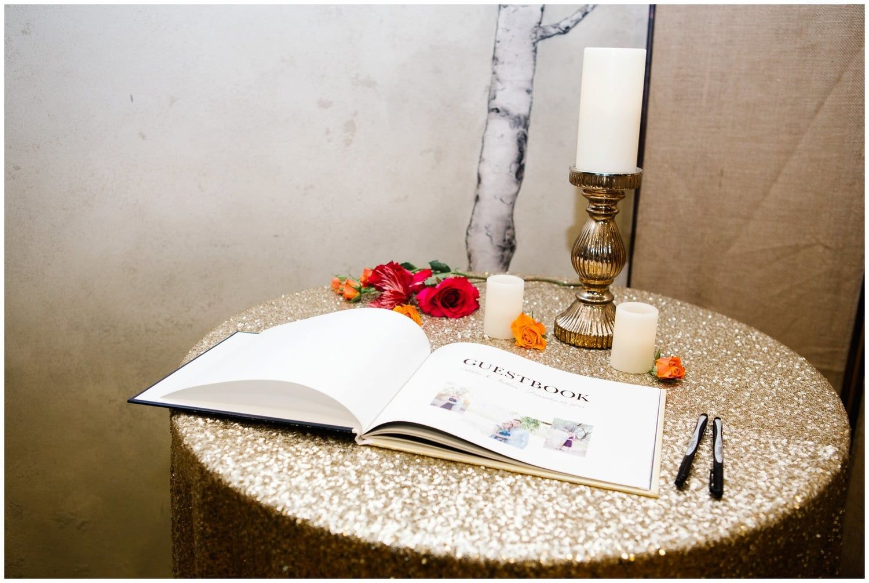 Jamie Tervort Photography, Cedar Hills Utah, Winter Wedding, Orange, Navy, Magenta, Purple Flowers, Gold Candlesticks, Gold sparkle tablecloth, Sign in book