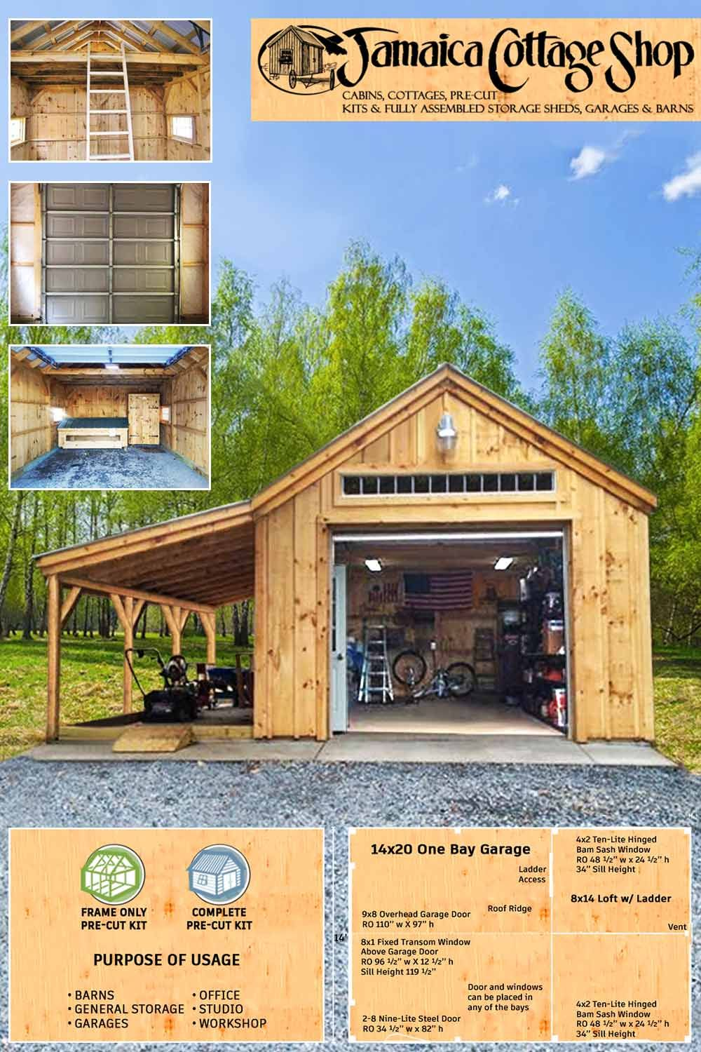 Multipurpose Space At 14 X 24 One Bay Garage In 2020 Garage Construction Backyard Sheds Backyard Decor