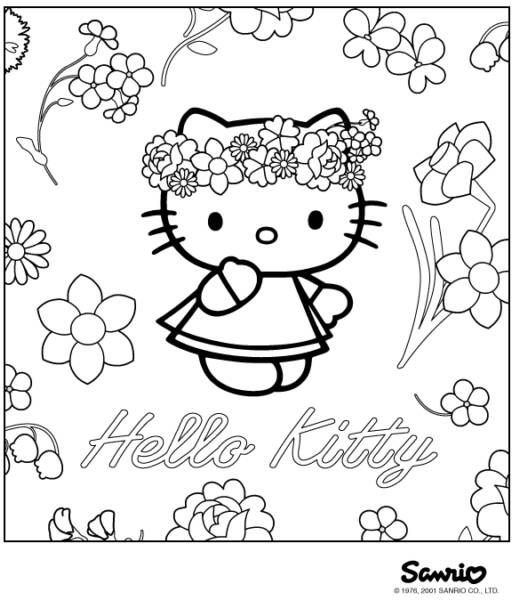 Sweet Hello Kitty With Flower Coloring Pages Hello Kitty