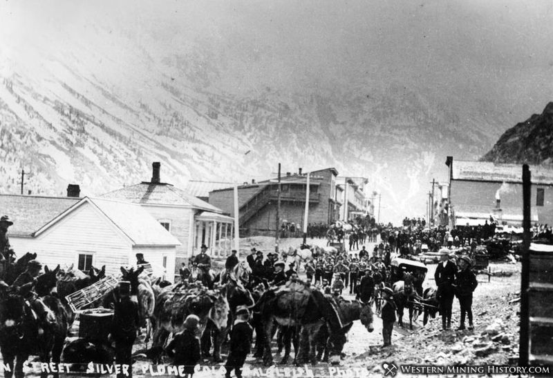 Busy Main Street - Silver Plume, Colo. 1880s