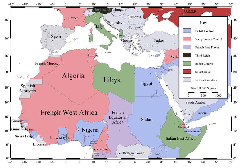 African colonies after the 1940 Battle of France. | France 1940