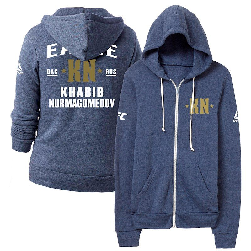 Khabib Nurmagomedov Reebok UFC 229 Team Khabib Camp Full-Zip Hoodie –  Heather Navy 8c22d12aae7