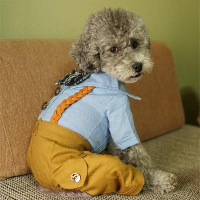 Gentleman Dogs Jumpsuit Clothes For Dog Coat Overalls Puppy Outfit