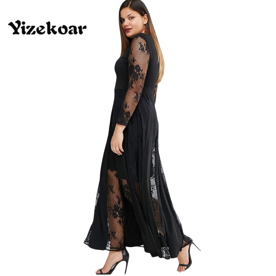 Yizekoar new arrival winter spring sexy lace plus size black