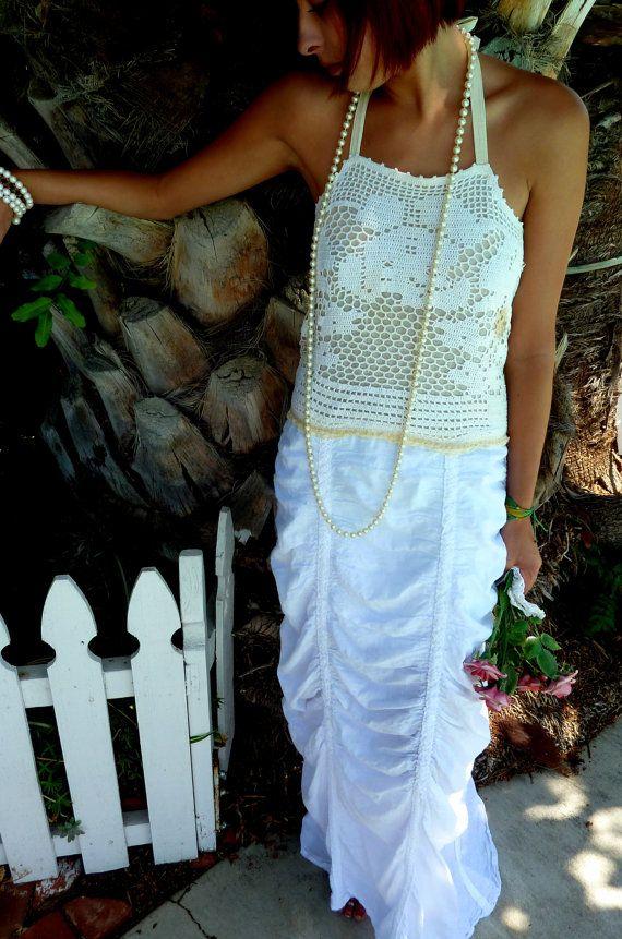 RESERVED for Evi Summer/Wedding Dress, OOAK Dress, Vintage Doily ...