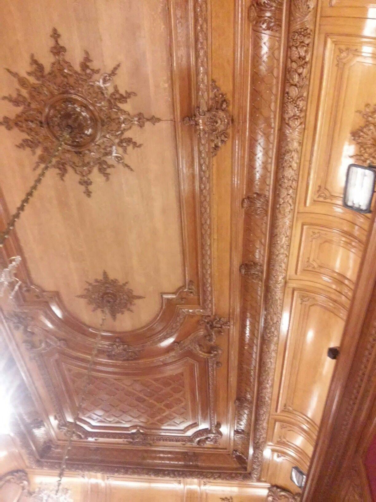 Vista del techo de madera del sal n comedor encino blanco - Techos de madera blanco ...