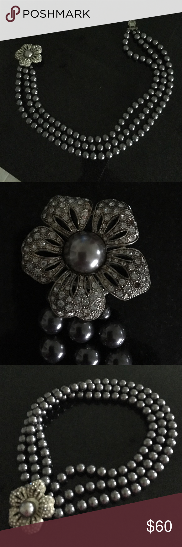 Banana Republic pearl statement necklace Gorgeous 3-stranded gray pearls close magnetically with rhinestone and pearl floral brooch. In perfect condition with no stones missing. Banana Republic Jewelry Necklaces