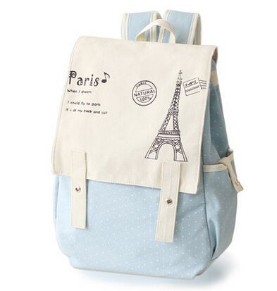 Japan and Korea Style Women Canvas Backpack School bag For Girls ...