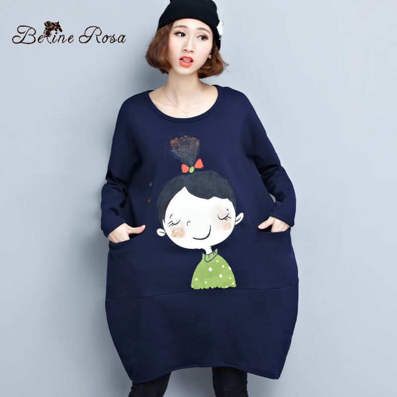 BelineRosa Big Sizes Women Dresses Korean Style Cute Girls Loose Hem Winter  Short Dress Women FIT 0a6740e6a2b9