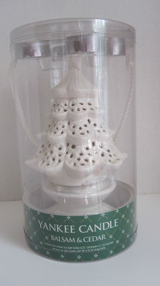 Yankee Candle White Ceramic Christmas Tree Tea Light Holder W 4 Tea Lights 8 2 Ceramic Christmas Trees Tea Lights White Candles