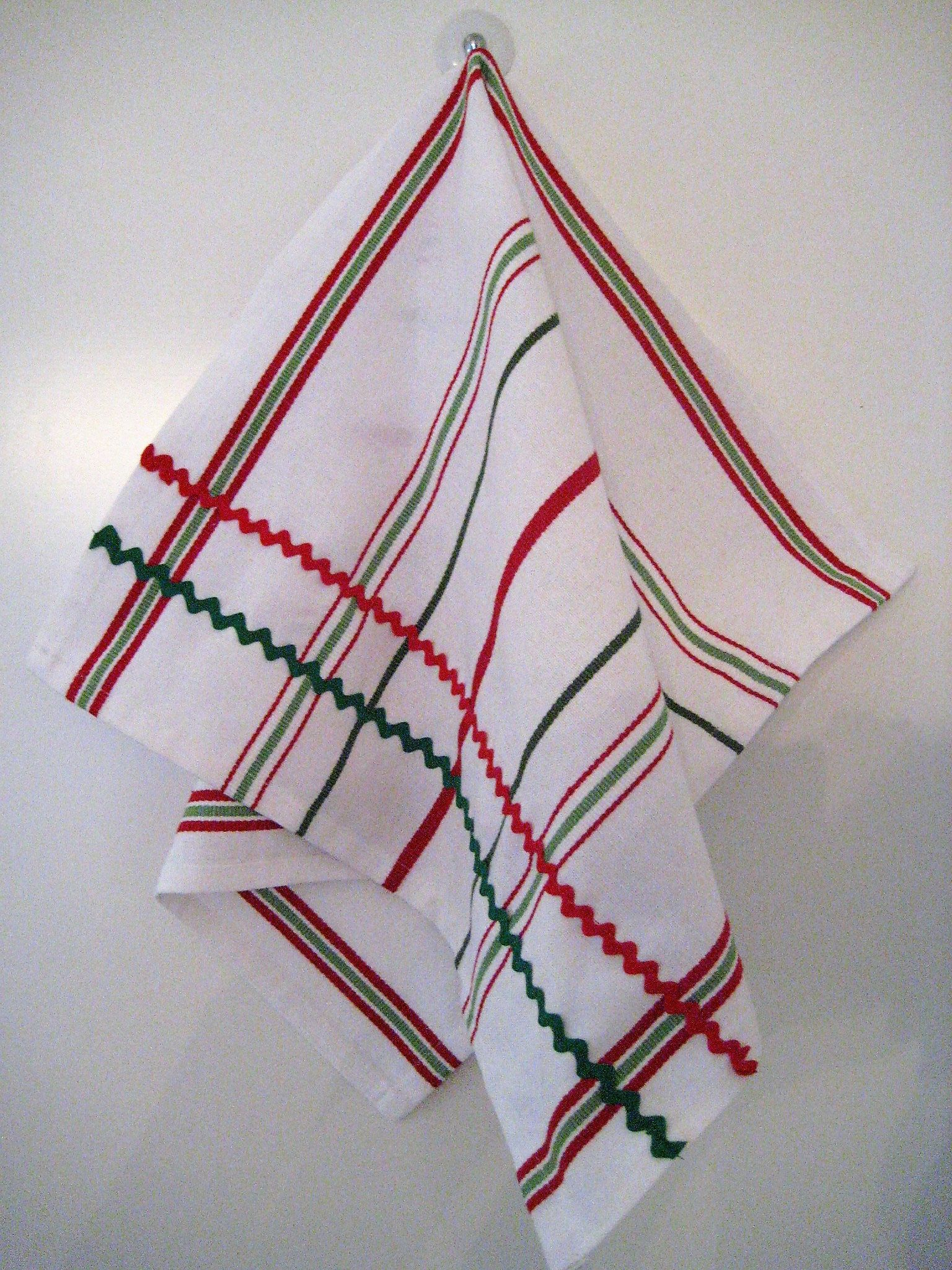 Red Green White Striped Christmas Tea Kitchen Towel with Red & Green