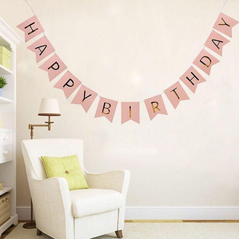 Cm Pink Happy Birthday Banner Garland Hanging Shiny Golden