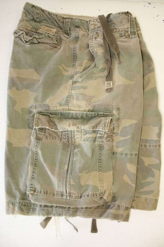 97fceaa2eb Abercrombie Fitch Heavyweight Faded Green Camo Cargo Shorts Twill 7 Mens 36  2916 #AbercrombieandFitch #CargoShorts