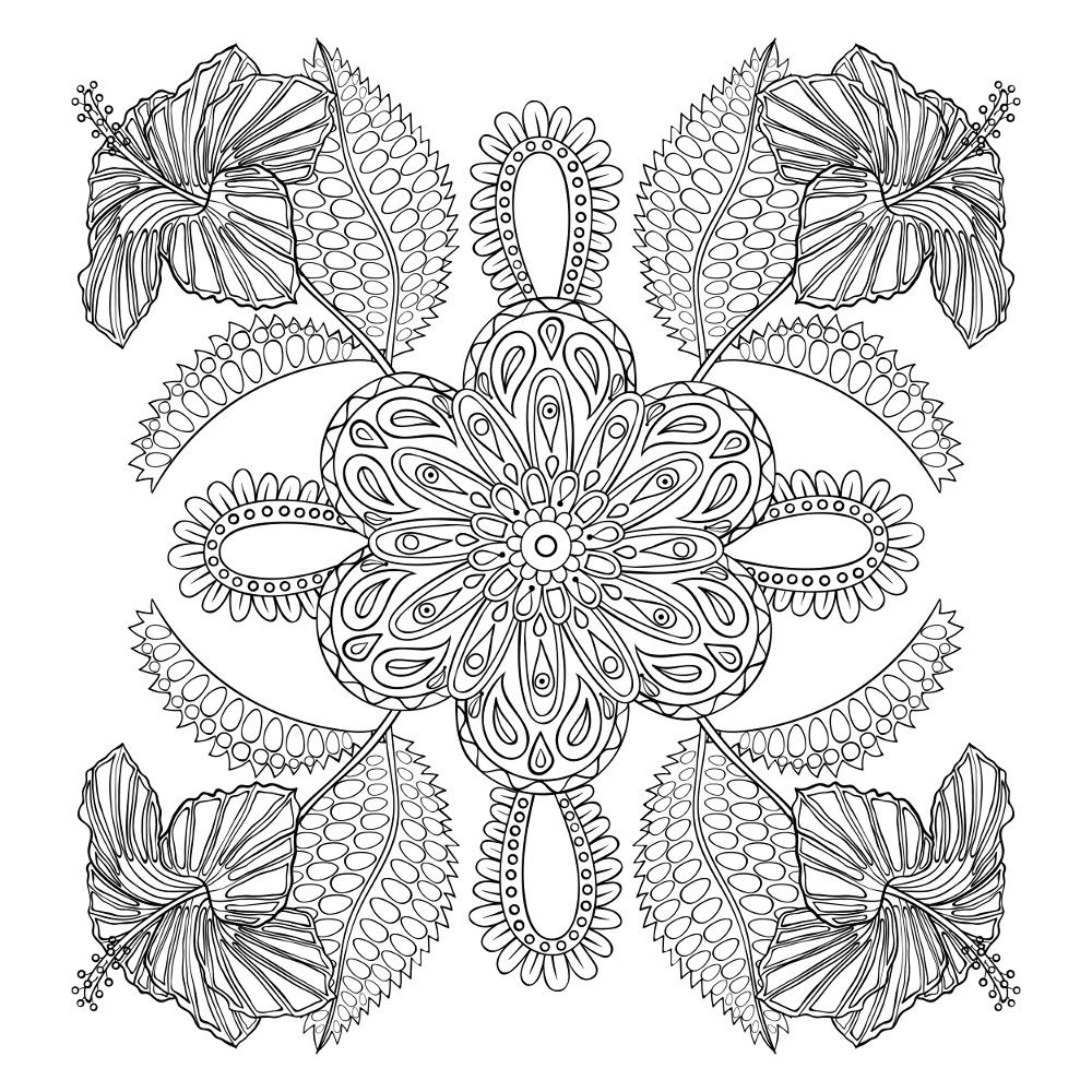 Flower coloring pages for adults in adult coloring