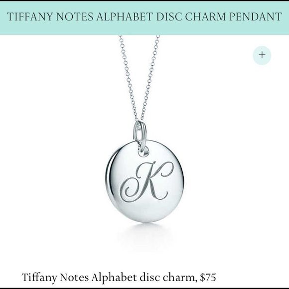 9dbae2919 Tiffany Notes Alphabet Disk Charm Pendant Sterling silver. Letter K. .5