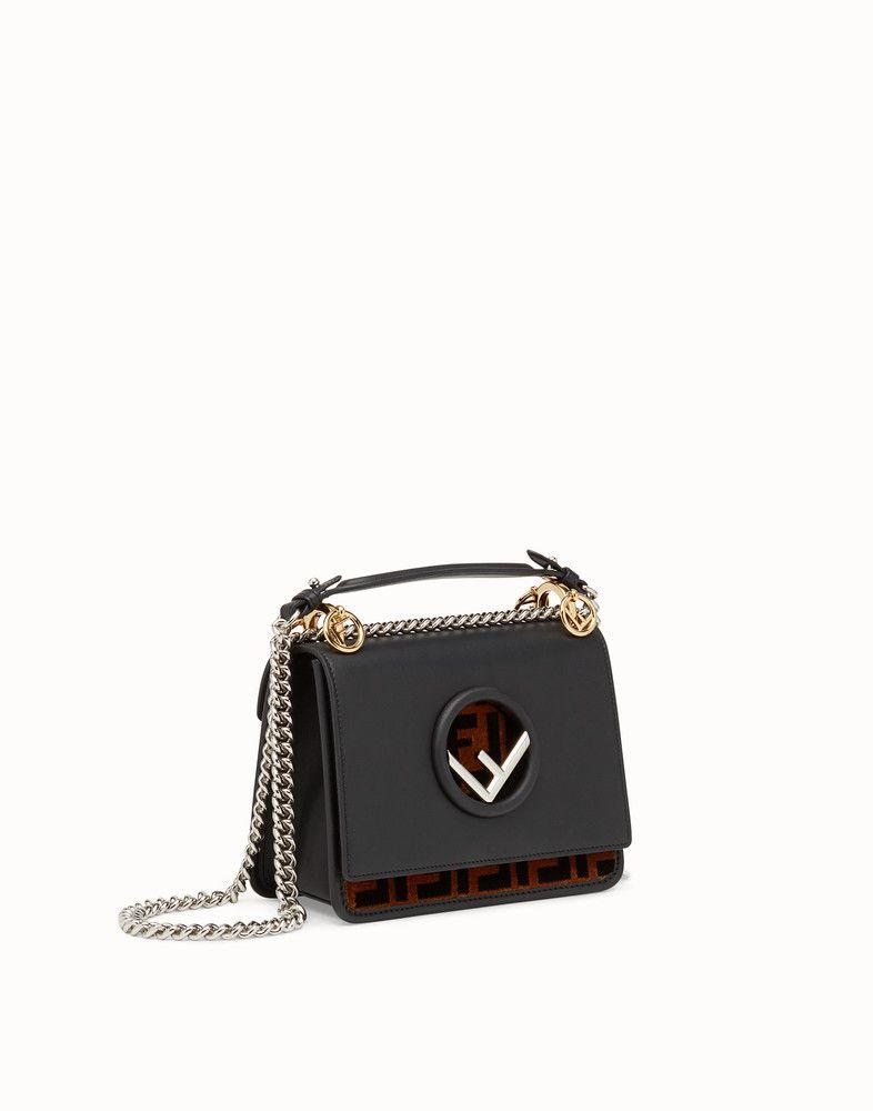 f3666dd8cb50 FENDI KAN I F SMALL - Black leather mini-bag - view 2 detail ...
