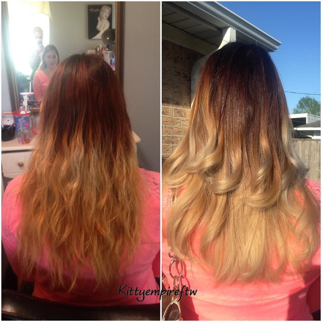 Before and after Her fire ombre before was grown out and