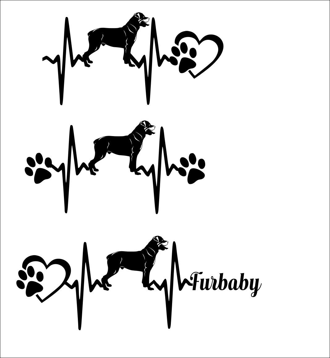 Svg Cut File Rottweiler Heartbeat Paw With Heart