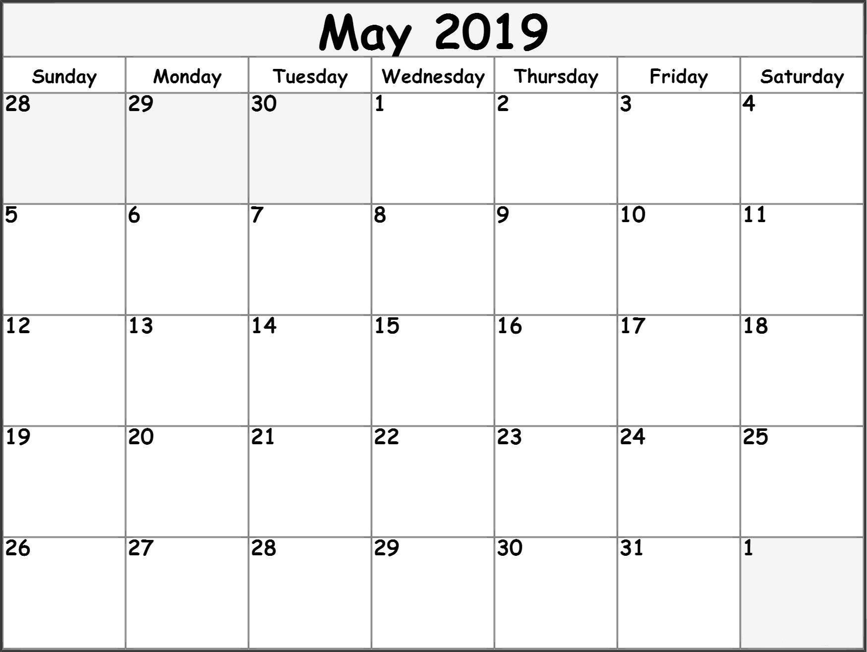 Free May 2019 Printable Calendar Word Pdf With Holidays Calendar