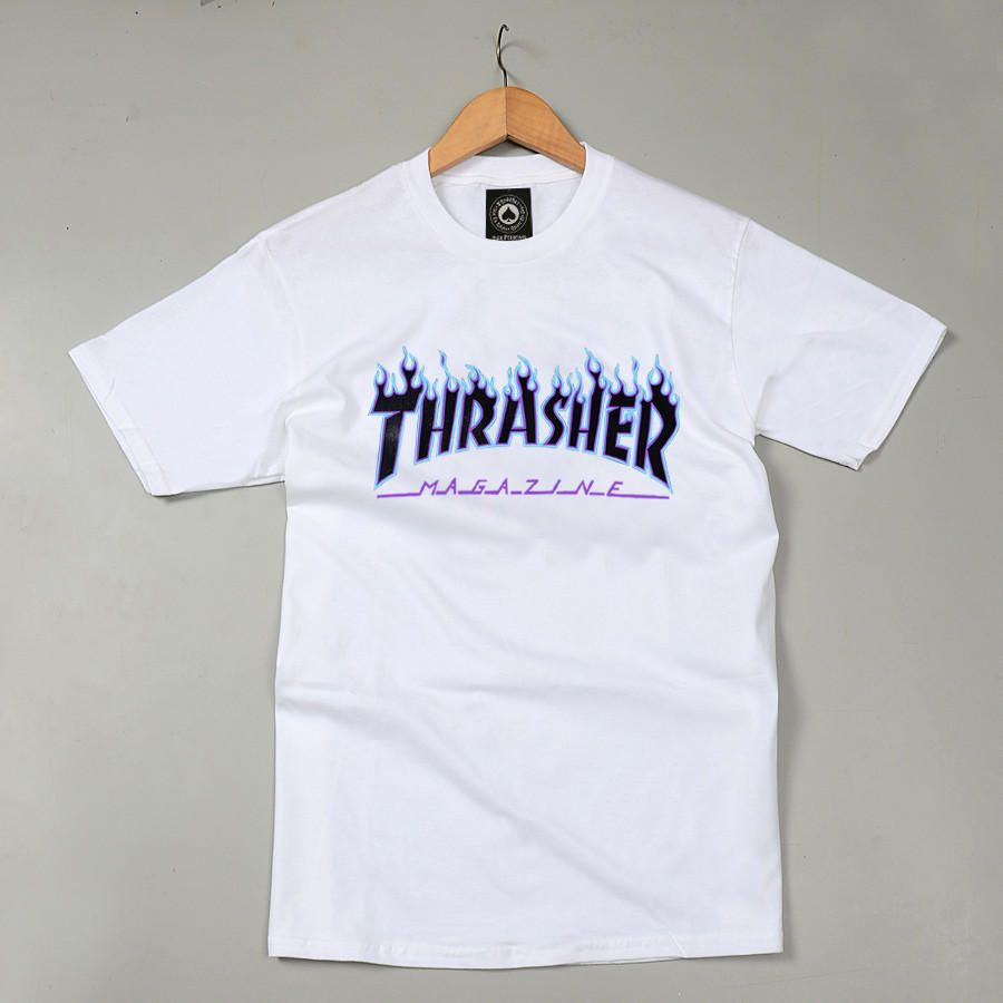 35c6e7c90cf3 Thrasher Magazine Blue Flame Logo White   Black T-Shirt from JAKKOUTTHEBXX.  Saved to Shirts.