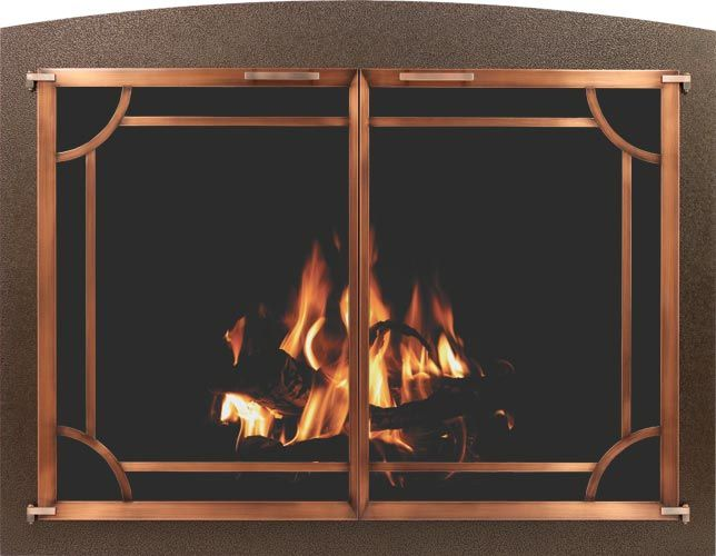 Stoll Fireplace Glass Door Bar Iron in Copper Vein with Plated Antique Pewter Doors and C