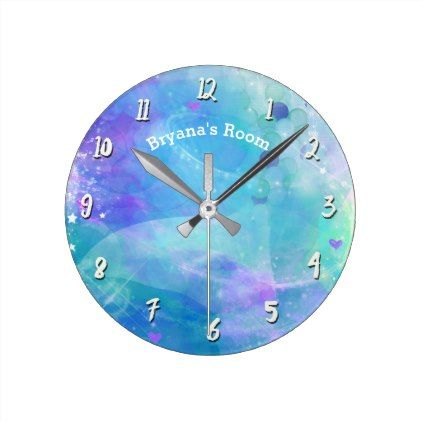 Pastel Watercolor Teal Mermaid Tail Personalized Round Clock - girl gifts special unique diy gift idea