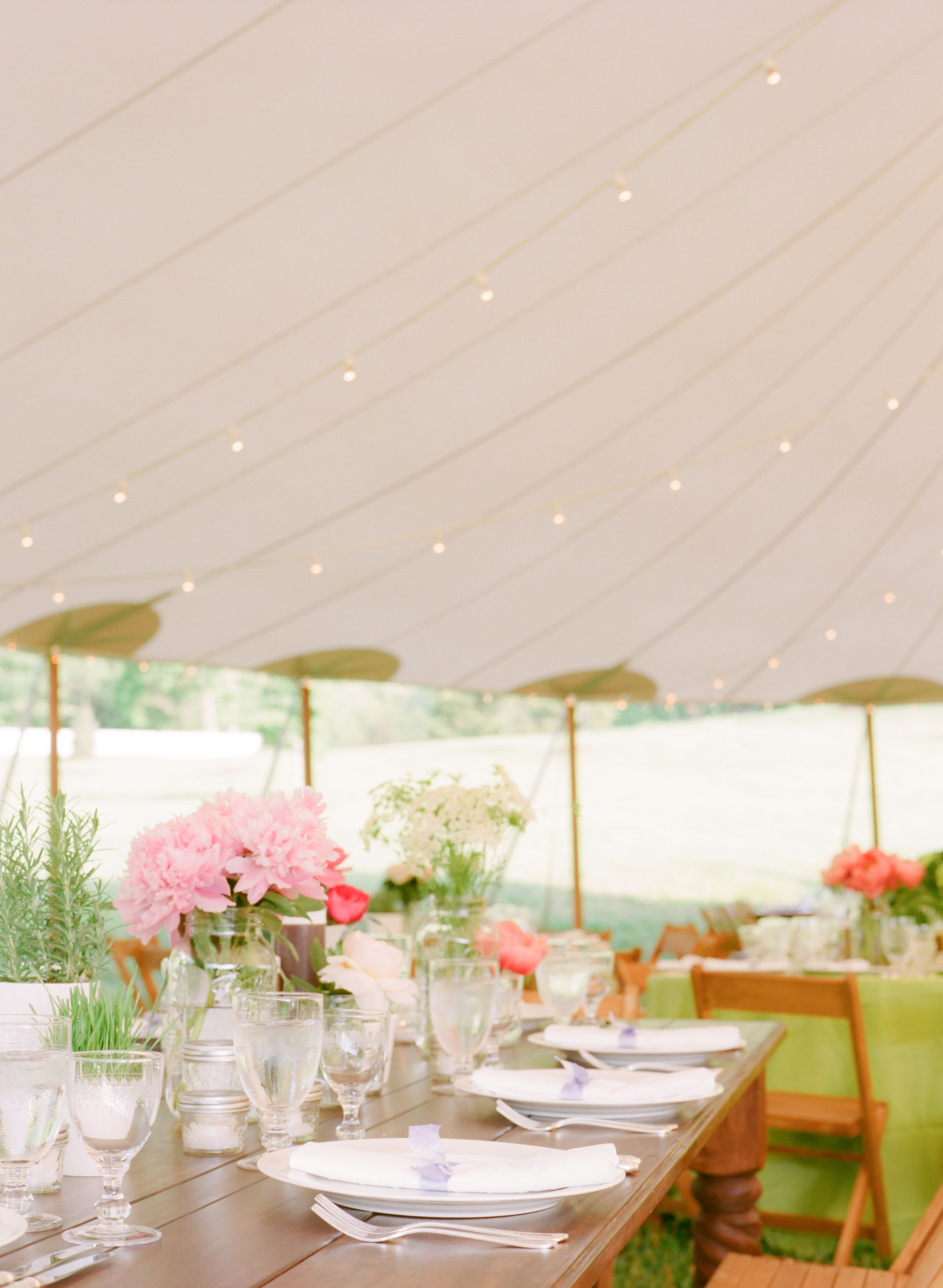 Wedding decorations green  Reception Tent With Pink and Green Decor  Tents Garden weddings