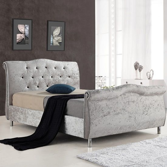 Best Savio Fabric Bed In Silver Crushed Velvet With Chrome Legs 400 x 300