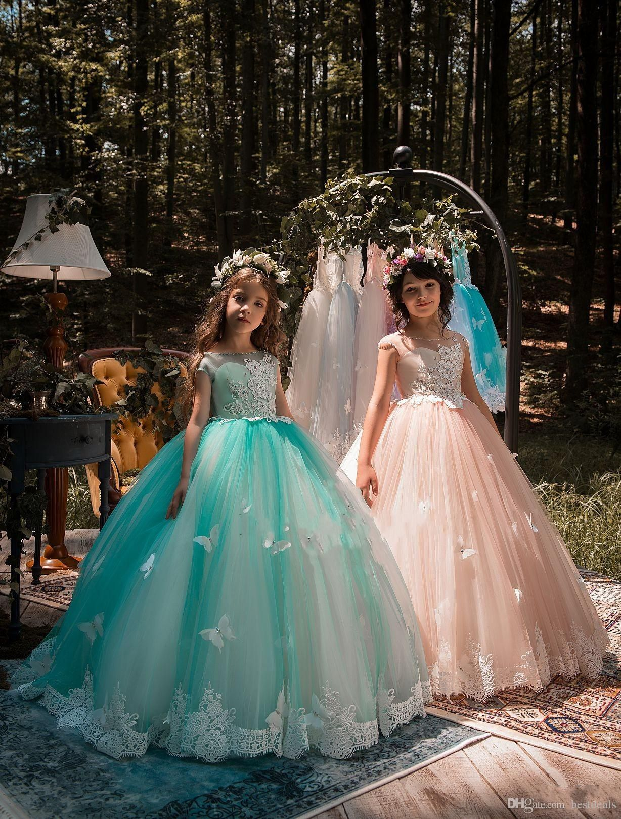 new design mint green girls pageant dresses ball gown lace