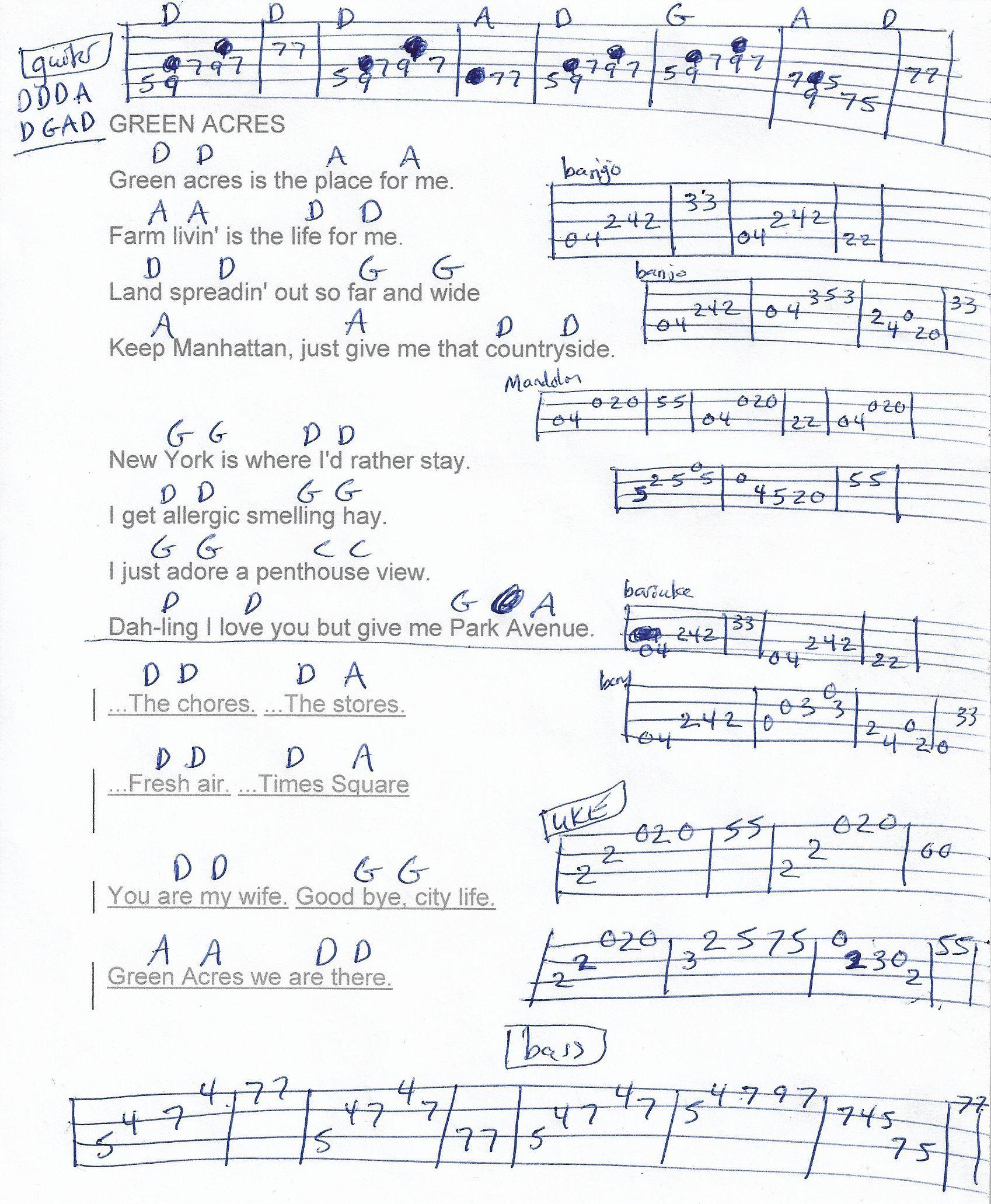 Green Acres Tv Theme Guitar Chord Chart Munson Arrangement